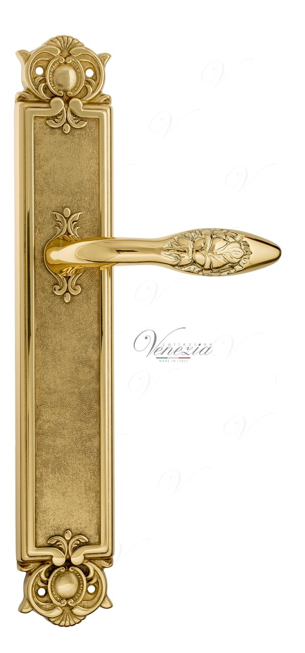 Door Handle Venezia  CASANOVA  On Backplate PL97 Polished Brass