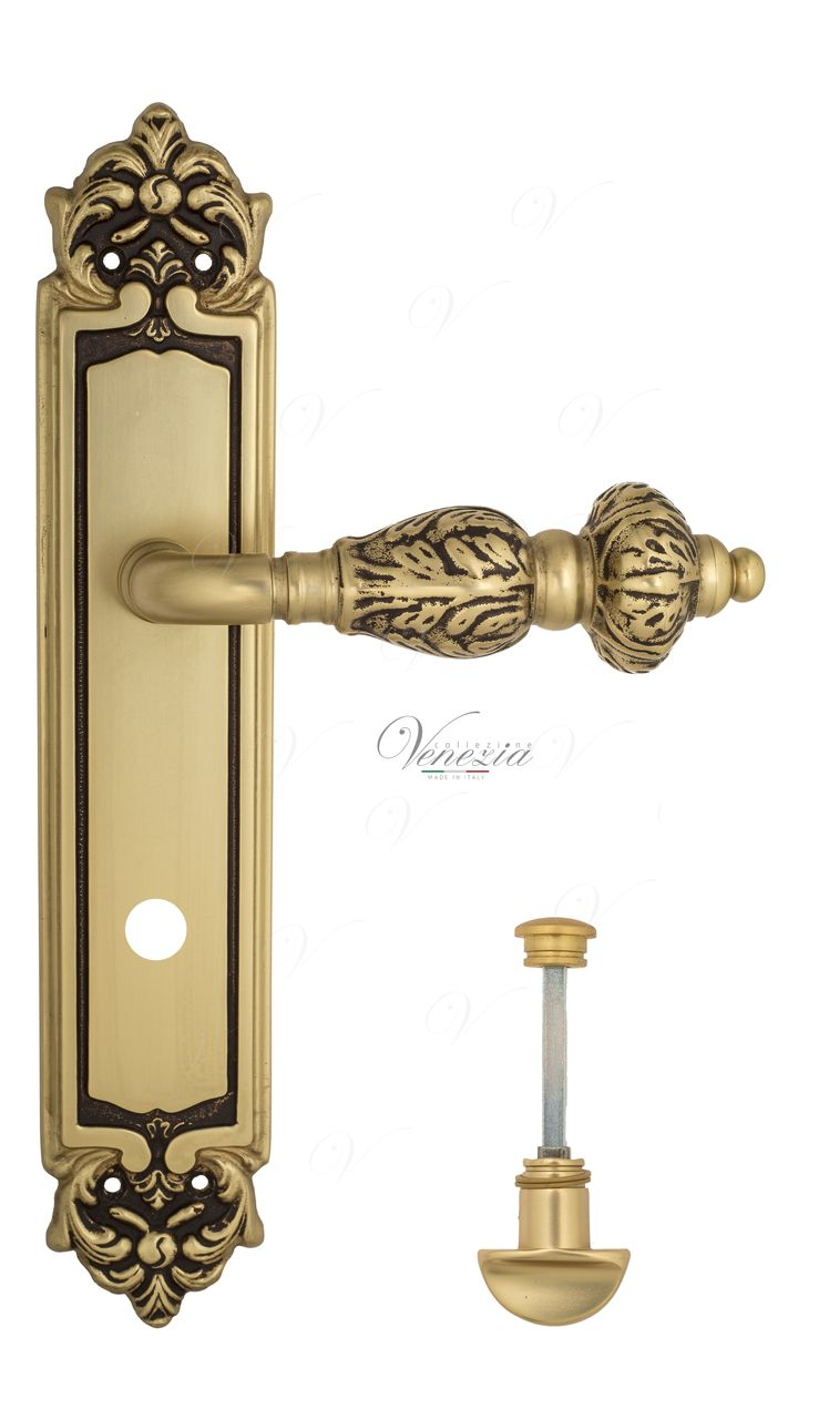 Door Handle Venezia  LUCRECIA  WC-2 On Backplate PL96 French Gold + Brown