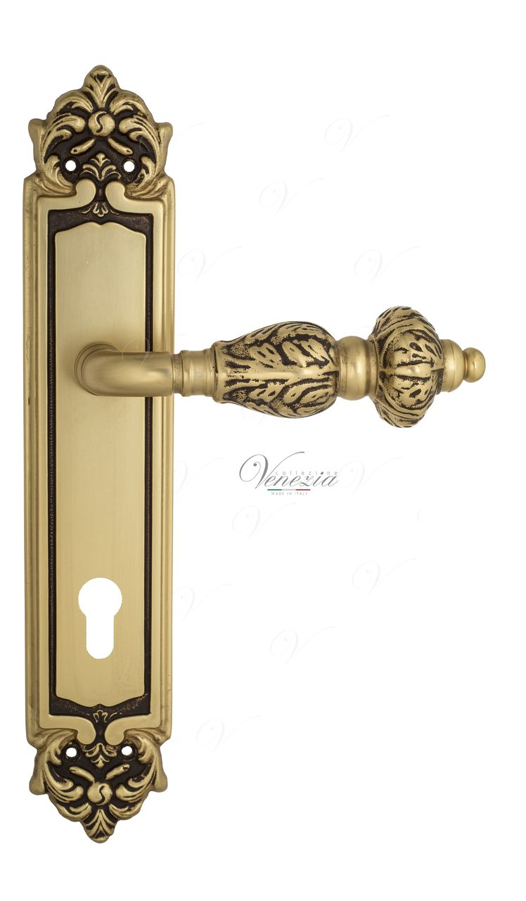 Door Handle Venezia  LUCRECIA  CYL On Backplate PL96 French Gold + Brown