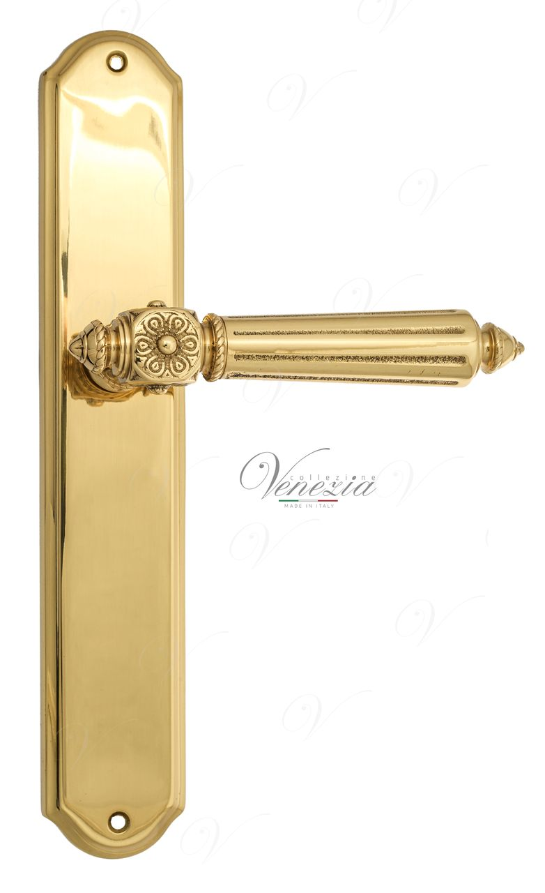 Door Handle Venezia  CASTELLO  On Backplate PL02 Polished Brass