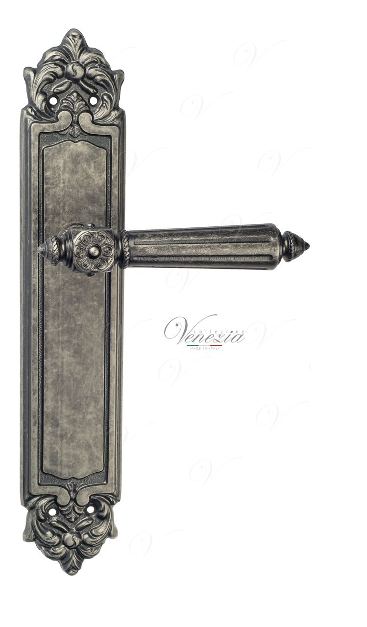 Door Handle Venezia  CASTELLO  On Backplate PL96 Antique Silver