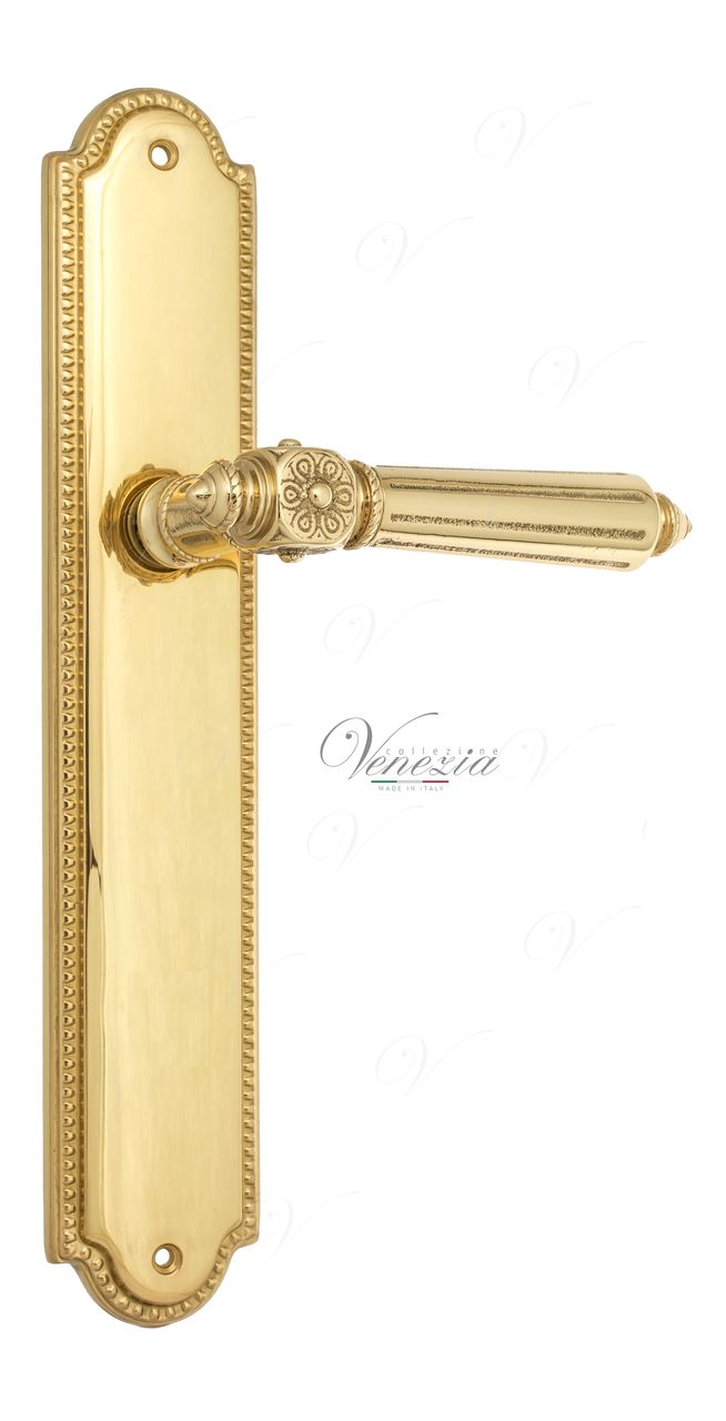 Door Handle Venezia  CASTELLO  On Backplate PL98 Polished Brass