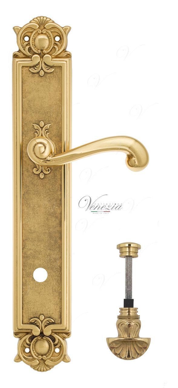 Door Handle Venezia  CLASSIC  WC-4 On Backplate PL97 Polished Brass