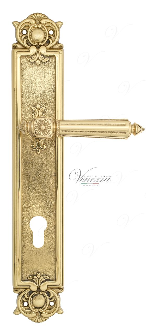 Door Handle Venezia  CASTELLO  CYL On Backplate PL97 Polished Brass
