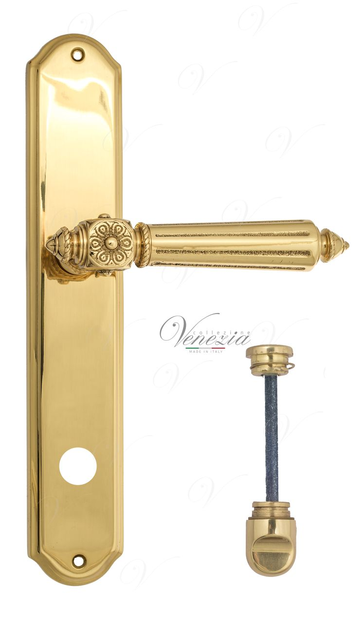 Door Handle Venezia  CASTELLO  WC-1 On Backplate PL02 Polished Brass