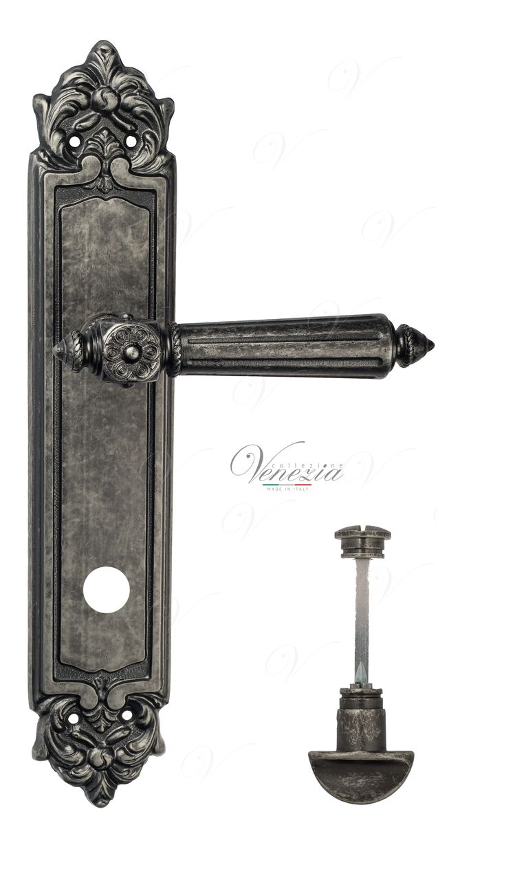 Door Handle Venezia  CASTELLO  WC-2 On Backplate PL96 Antique Silver
