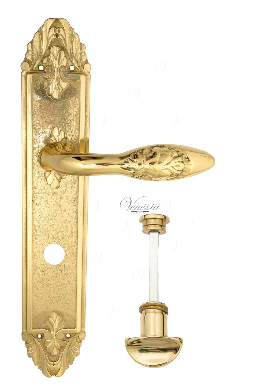 Door Handle Venezia  CASANOVA  WC-2 On Backplate PL90 Polished Brass