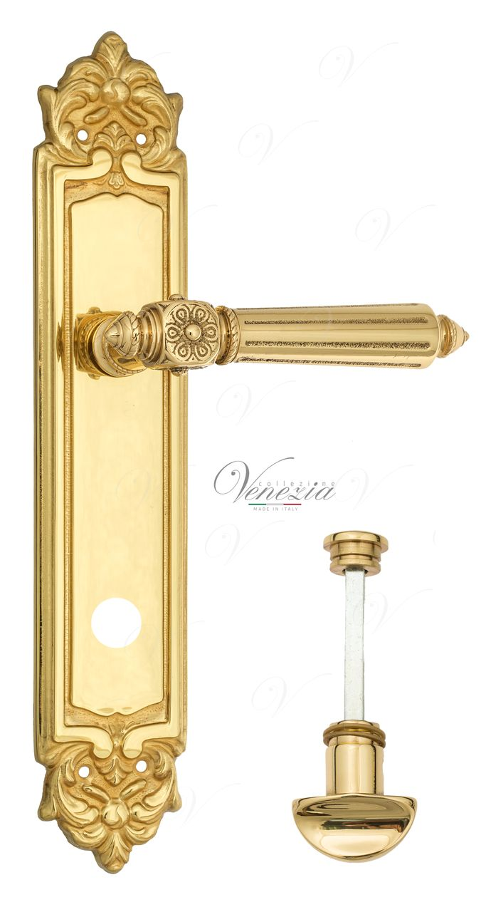 Door Handle Venezia  CASTELLO  WC-2 On Backplate PL96 Polished Brass