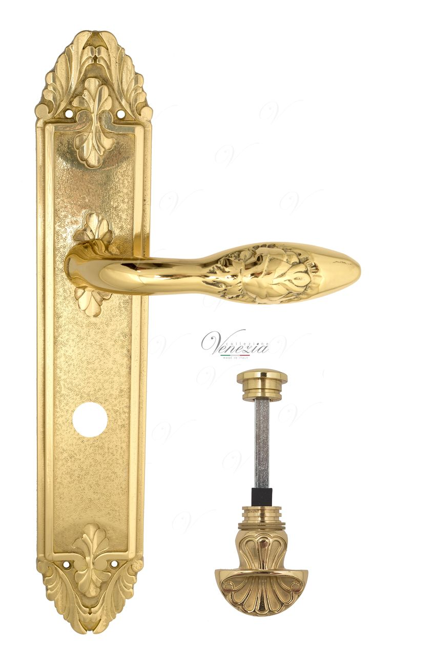 Door Handle Venezia  CASANOVA  WC-4 On Backplate PL90 Polished Brass