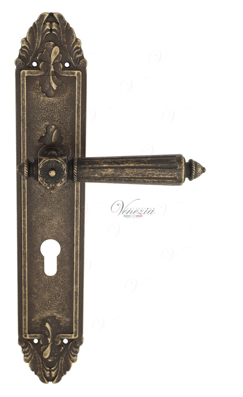 Door Handle Venezia  CASTELLO  CYL On Backplate PL90 Antique Bronze
