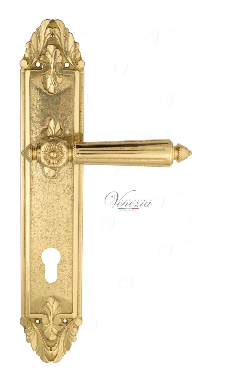 Door Handle Venezia  CASTELLO  CYL On Backplate PL90 Polished Brass