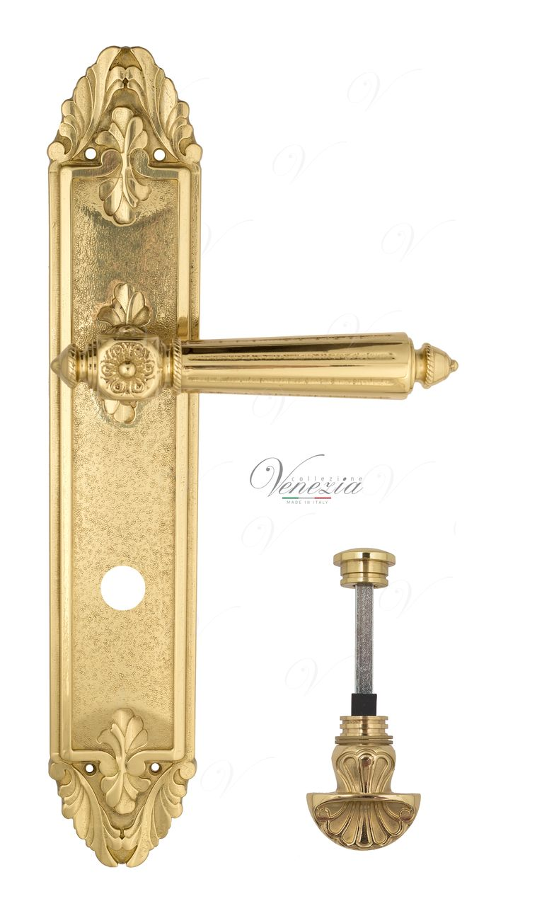 Door Handle Venezia  CASTELLO  WC-4 On Backplate PL90 Polished Brass