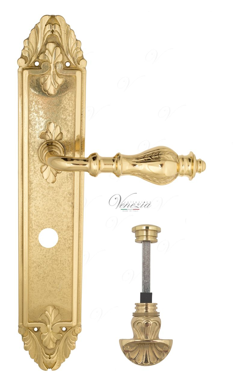 Door Handle Venezia  GIFESTION  WC-4 On Backplate PL90 Polished Brass