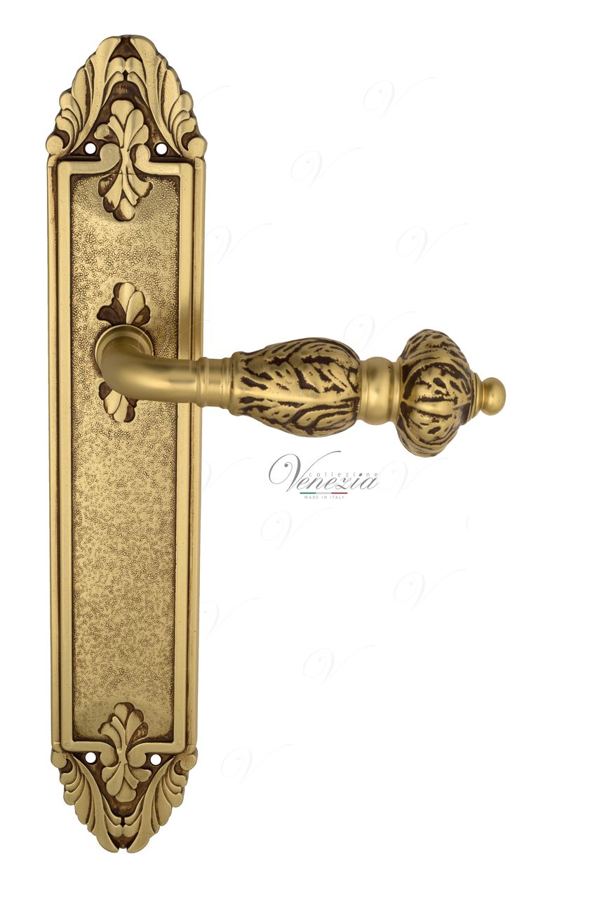 Door Handle Venezia  LUCRECIA  On Backplate PL90 French Gold + Brown