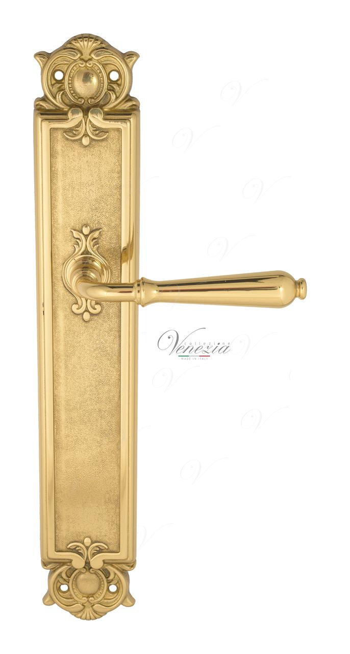 Door Handle Venezia  CLASSIC  On Backplate PL97 Polished Brass