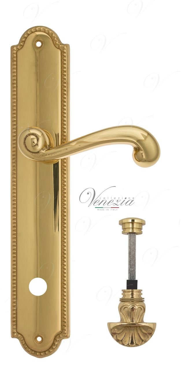 Door Handle Venezia  CARNEVALE  WC-4 On Backplate PL98 Polished Brass