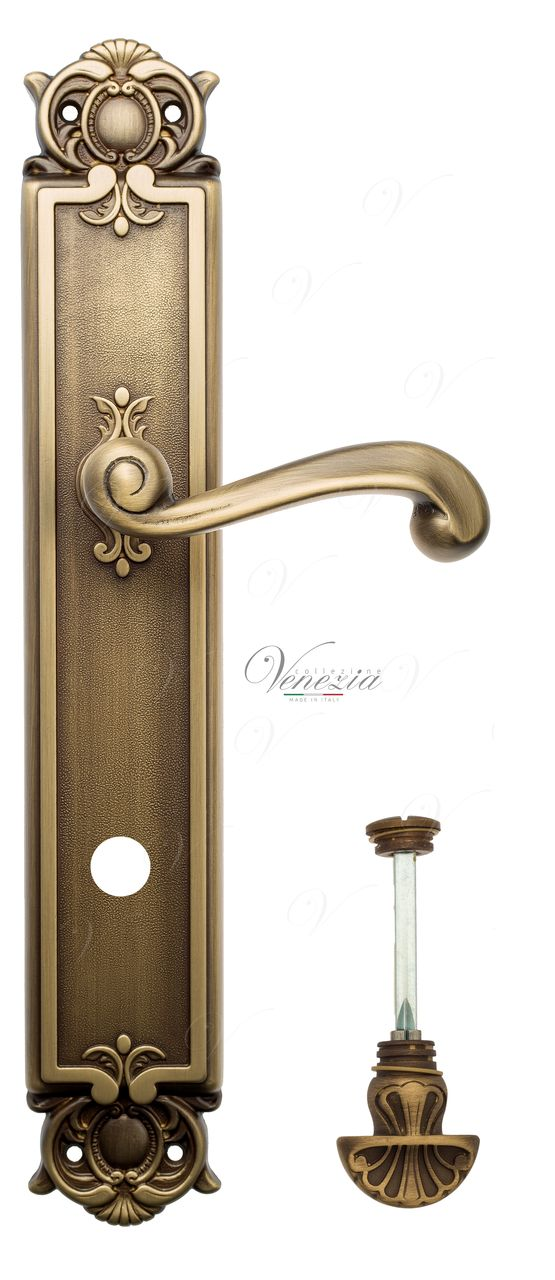 Door Handle Venezia  CARNEVALE  WC-4 On Backplate PL97 Mat Bronze