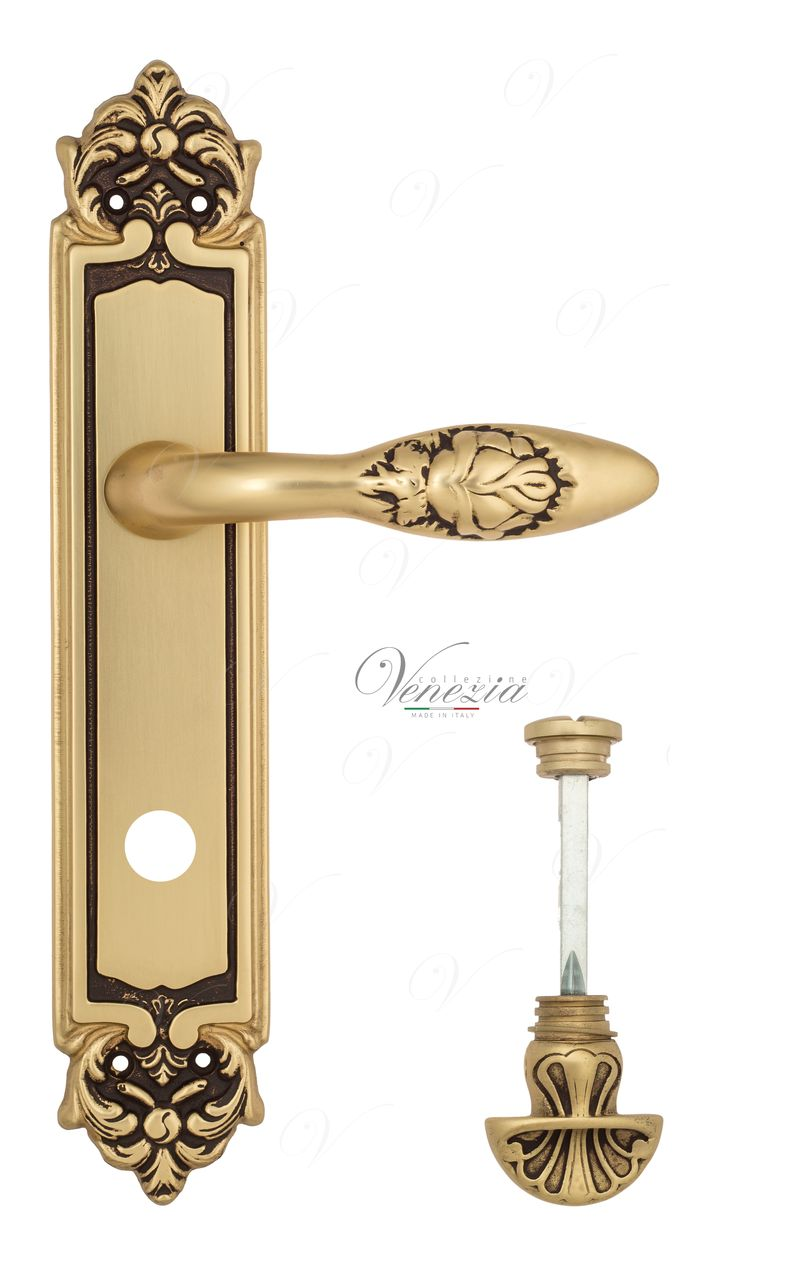 Door Handle Venezia  CASANOVA  WC-4 On Backplate PL96 French Gold + Brown