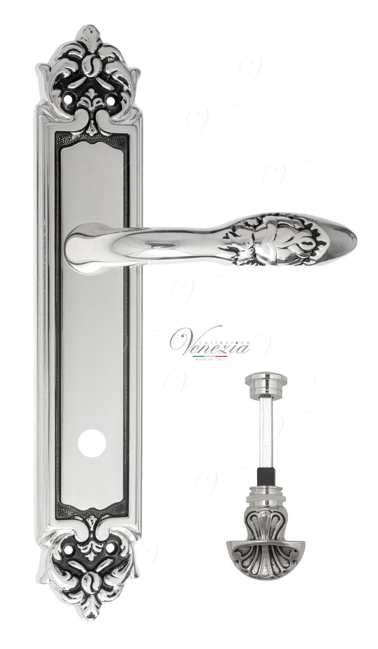 Door Handle Venezia  CASANOVA  WC-4 On Backplate PL96 Natural Silver + Black
