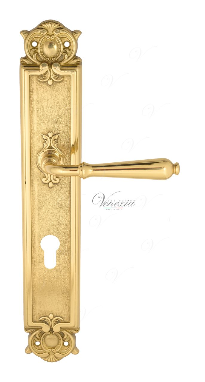 Door Handle Venezia  CLASSIC  CYL On Backplate PL97 Polished Brass