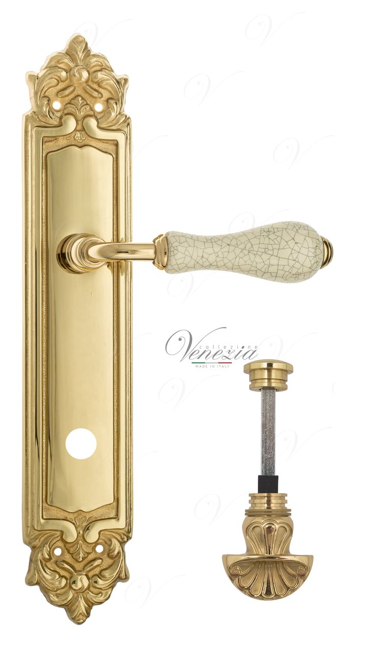Door Handle Venezia  COLOSSEO  White Ceramic Gossamer WC-4 On Backplate PL96 Polished Brass