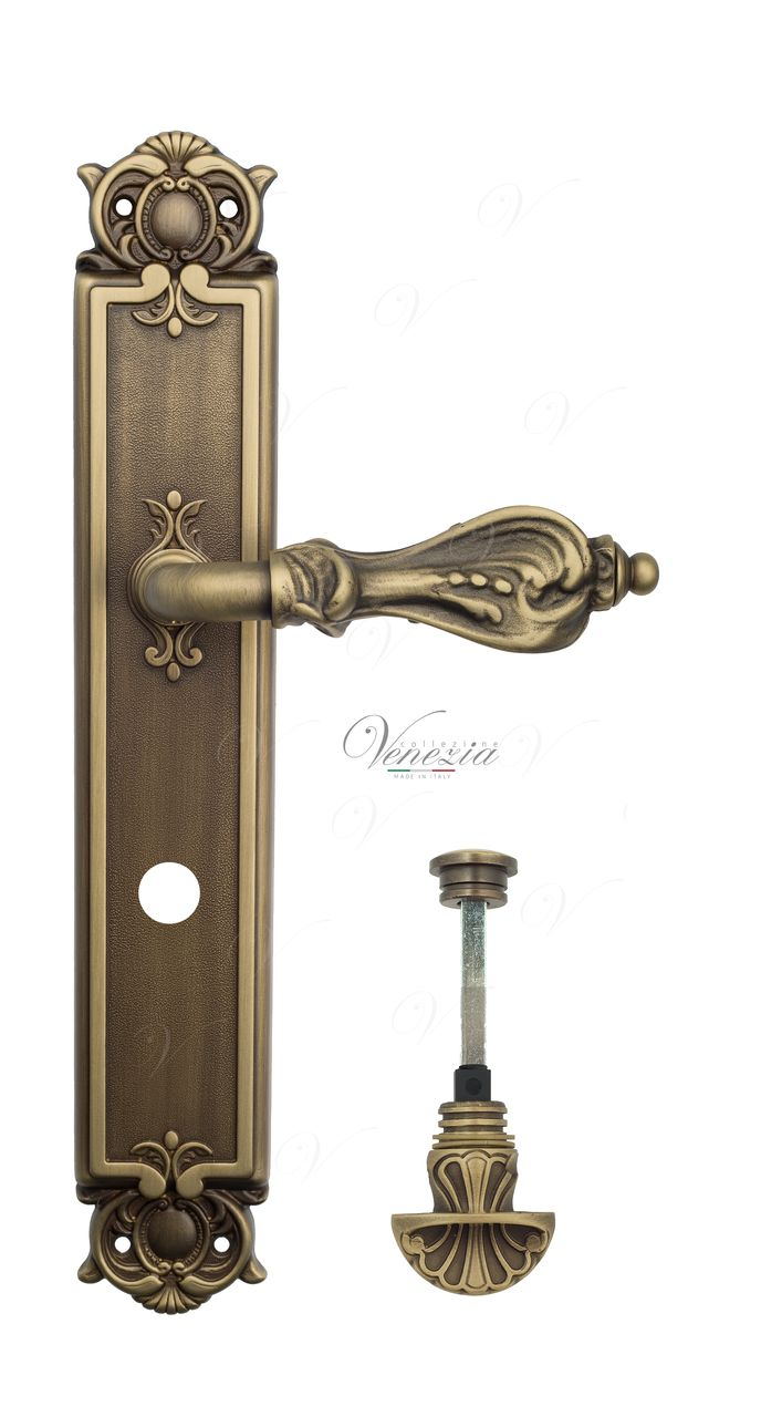 Door Handle Venezia  FLORENCE  WC-4 On Backplate PL97 Mat Bronze