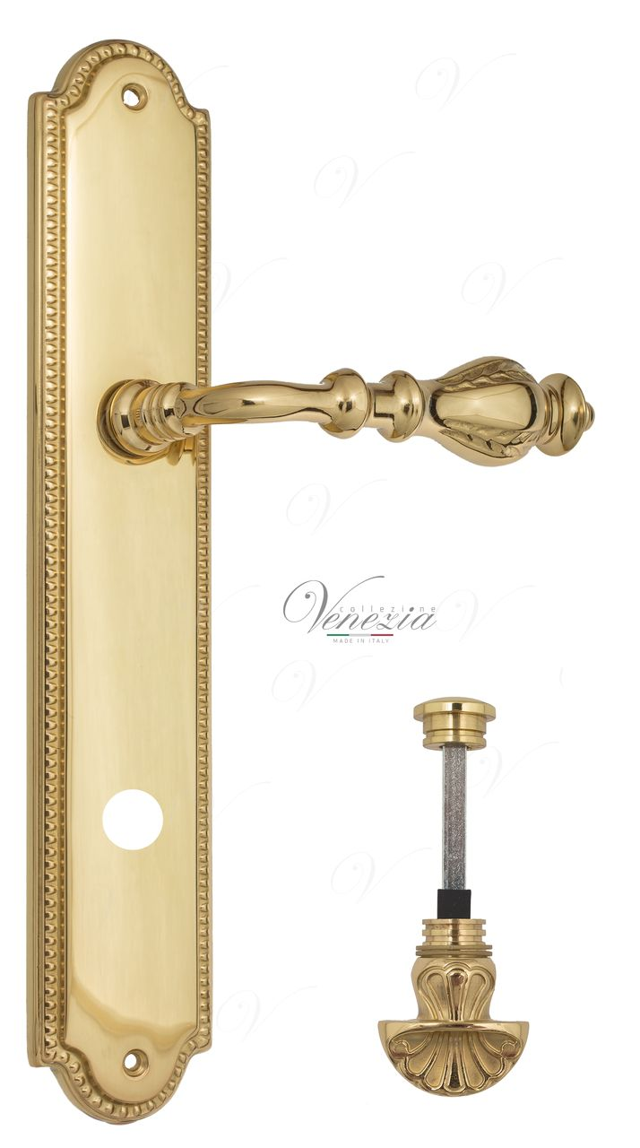 Door Handle Venezia  GIFESTION  WC-4 On Backplate PL98 Polished Brass