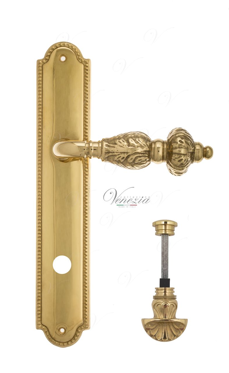 Door Handle Venezia  LUCRECIA  WC-4 On Backplate PL98 Polished Brass