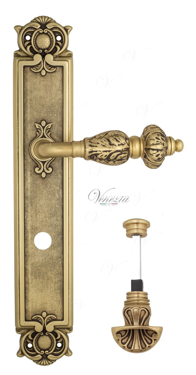 Door Handle Venezia  LUCRECIA  WC-4 On Backplate PL97 French Gold + Brown
