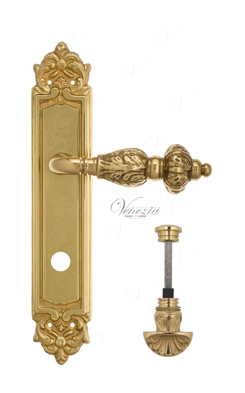 Door Handle Venezia  LUCRECIA  WC-4 On Backplate PL96 Polished Brass
