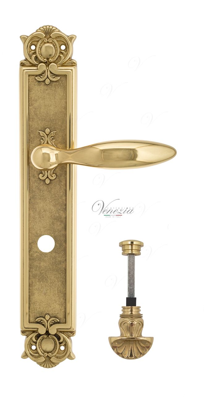 Door Handle Venezia  MAGGIORE  WC-4 On Backplate PL97 Polished Brass