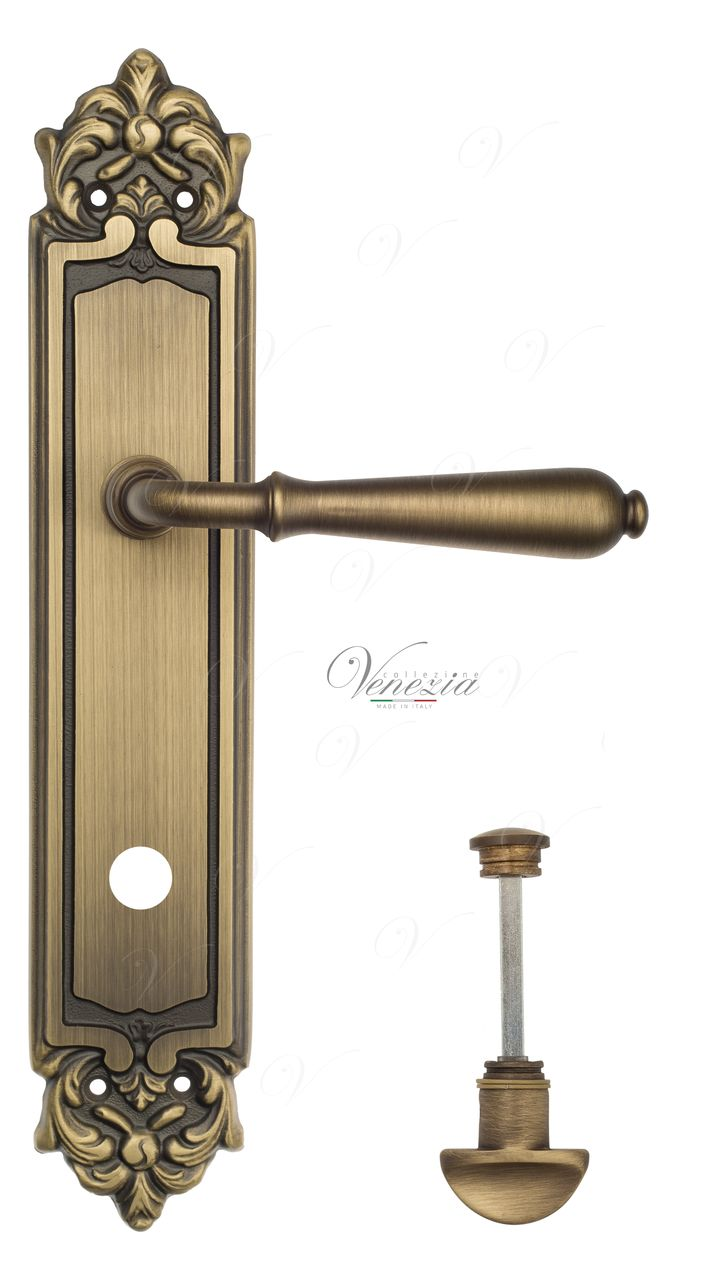 Door Handle Venezia  CLASSIC  WC-2 On Backplate PL96 Mat Bronze
