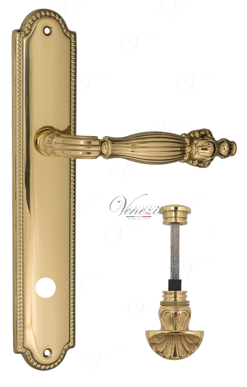 Door Handle Venezia  OLIMPO  WC-4 On Backplate PL98 Polished Brass