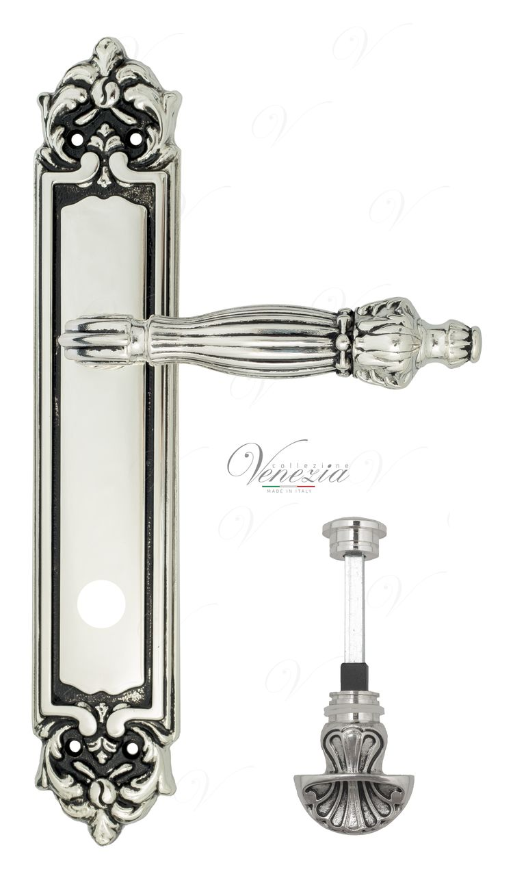 Door Handle Venezia  OLIMPO  WC-4 On Backplate PL96 Natural Silver + Black