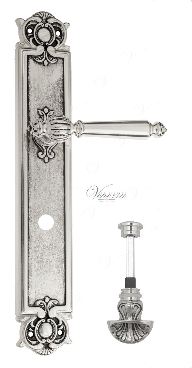 Door Handle Venezia  PELLESTRINA  WC-4 On Backplate PL97 Natural Silver + Black