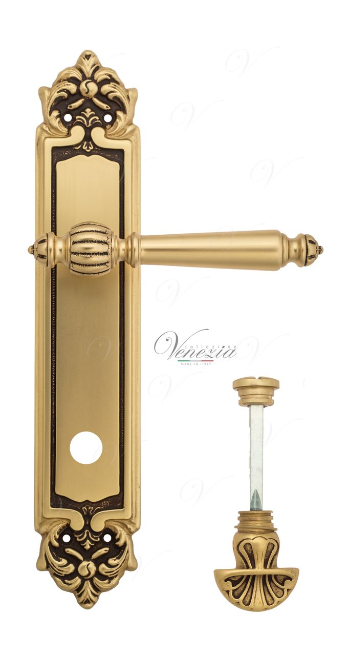 Door Handle Venezia  PELLESTRINA  WC-4 On Backplate PL96 French Gold + Brown