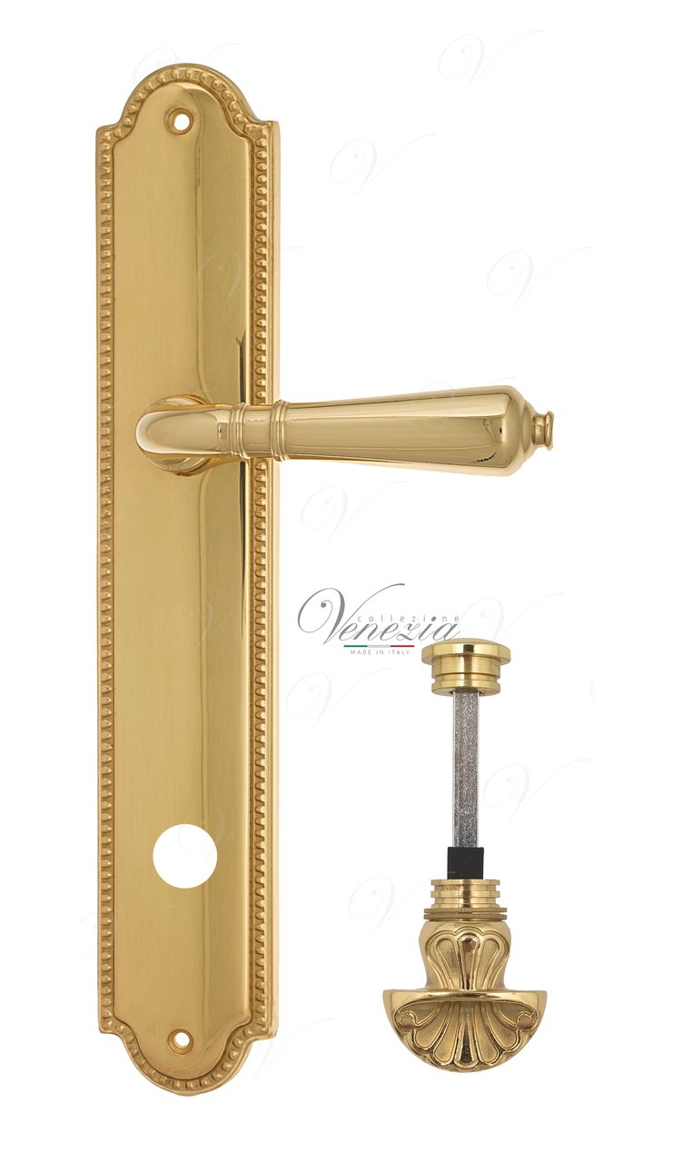 Door Handle Venezia  VIGNOLE  WC-4 On Backplate PL98 Polished Brass