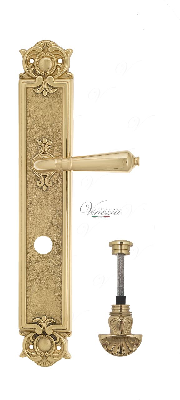 Door Handle Venezia  VIGNOLE  WC-4 On Backplate PL97 Polished Brass