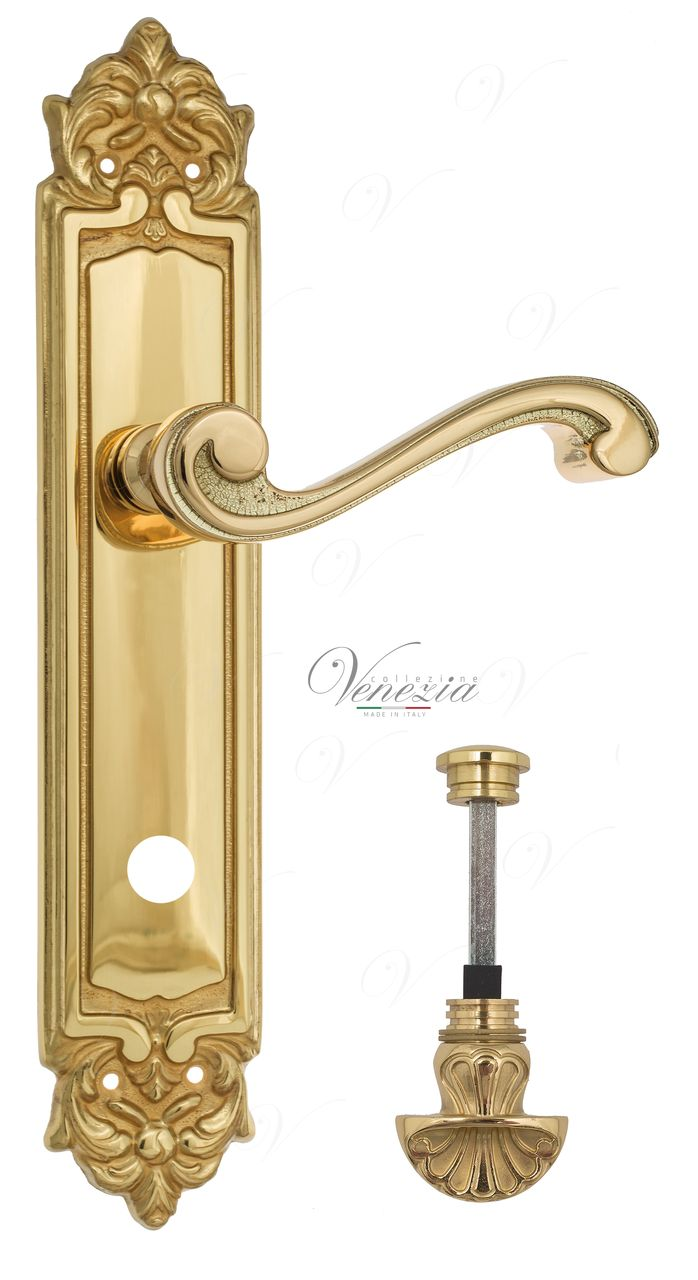 Door Handle Venezia  VIVALDI  WC-4 On Backplate PL96 Polished Brass