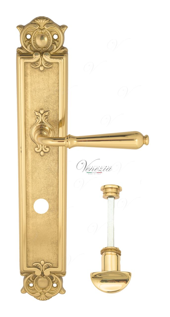 Door Handle Venezia  CLASSIC  WC-2 On Backplate PL97 Polished Brass