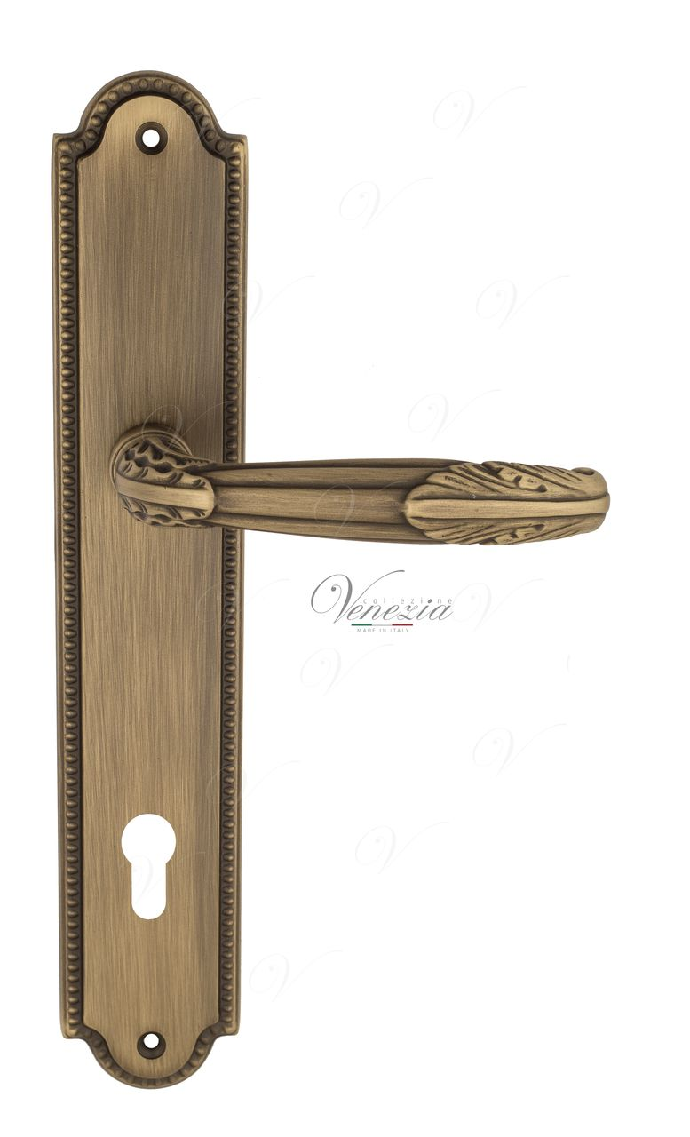 Door Handle Venezia  ANGELINA  CYL On Backplate PL98 Mat Bronze