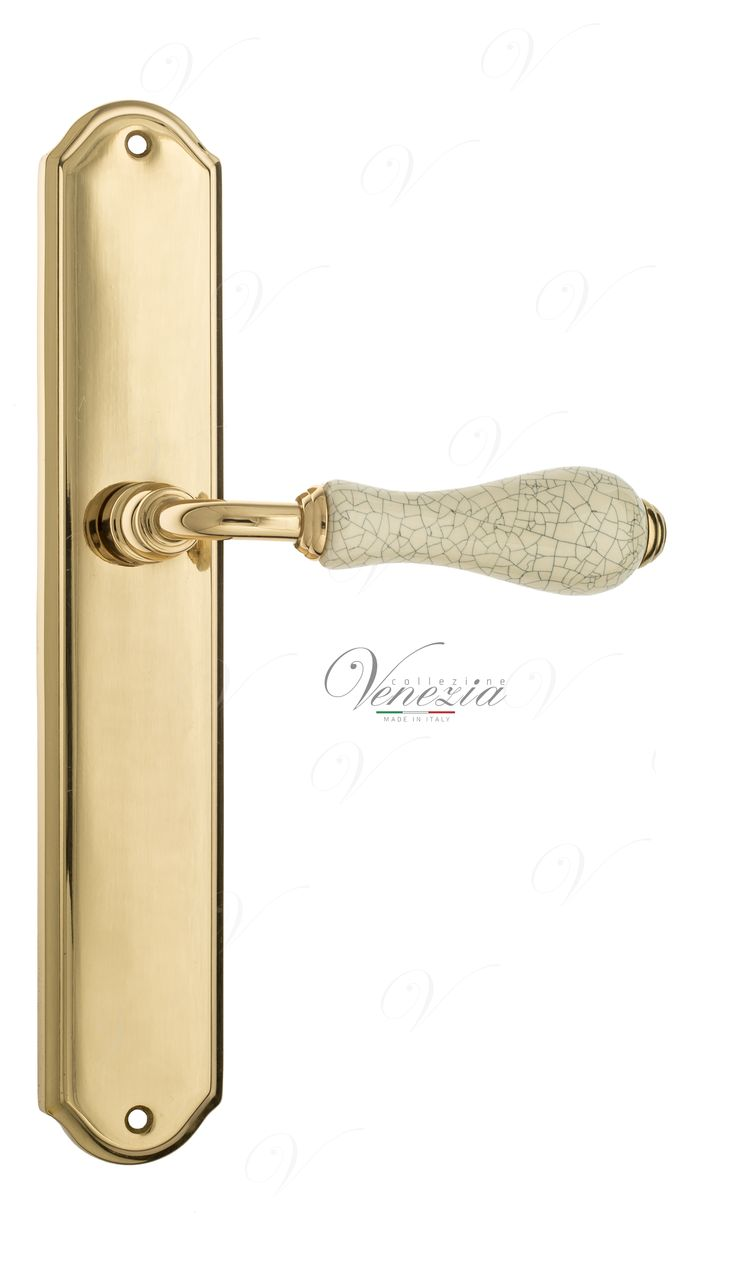 Door Handle Venezia  COLOSSEO  White Ceramic Gossamer On Backplate PL02 Polished Brass