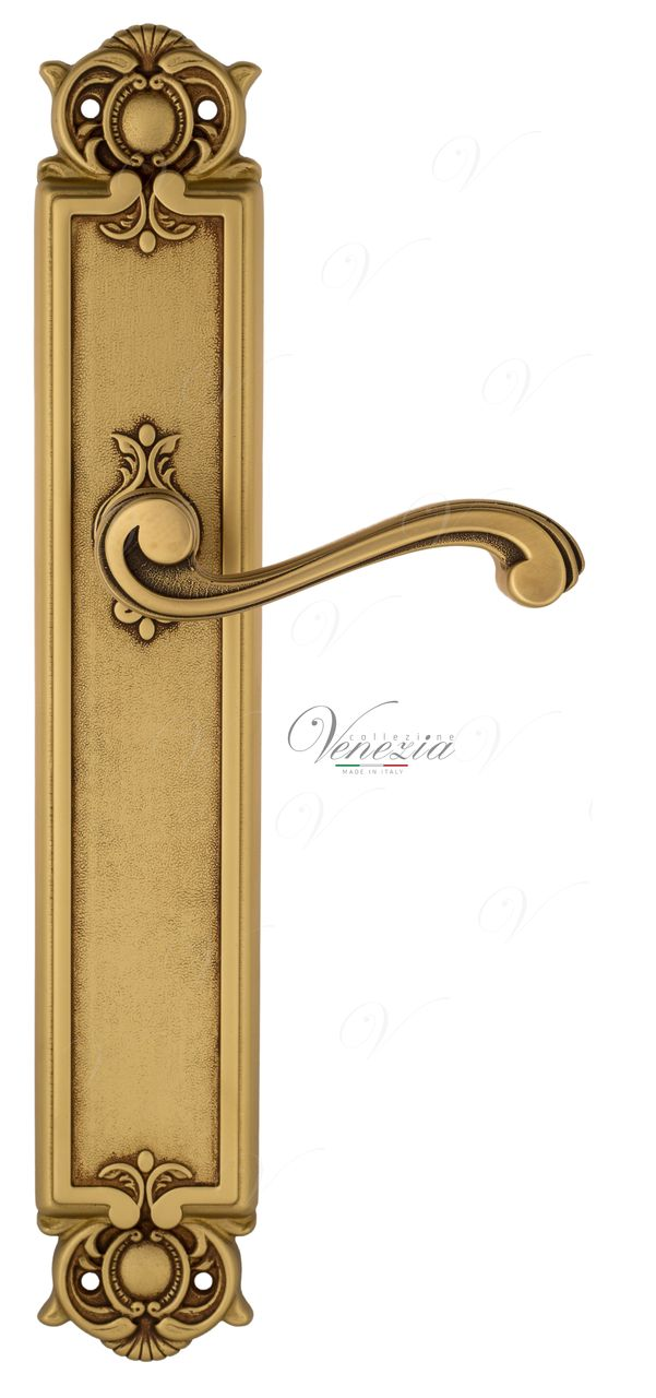 Door Handle Venezia  VIVALDI  On Backplate PL97 French Gold + Brown