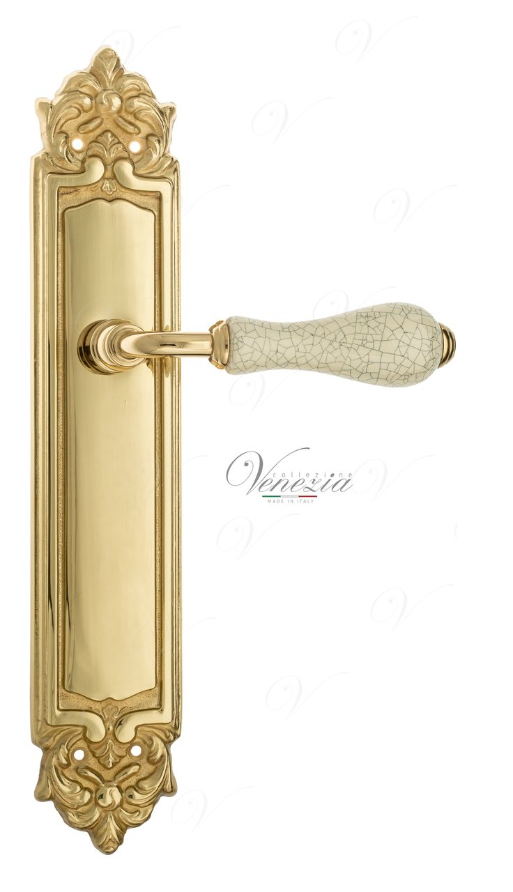 Door Handle Venezia  COLOSSEO  White Ceramic Gossamer On Backplate PL96 Polished Brass