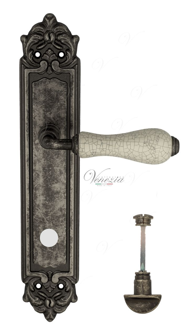 Door Handle Venezia  COLOSSEO  White Ceramic Gossamer WC-2 On Backplate PL96 Antique Silver