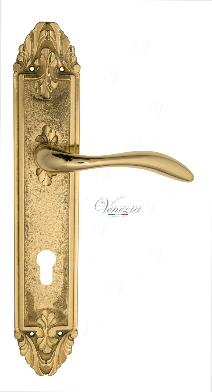 Door Handle Venezia  ALESSANDRA  CYL On Backplate PL90 Polished Brass