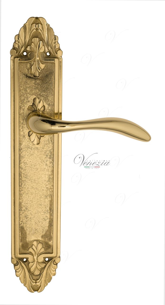 Door Handle Venezia  ALESSANDRA  On Backplate PL90 Polished Brass
