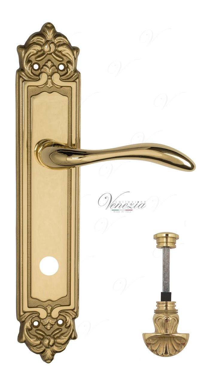 Door Handle Venezia  ALESSANDRA  WC-4 On Backplate PL96 Polished Brass