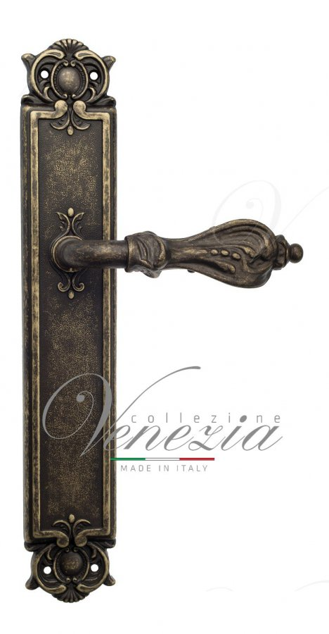 Door Handle Venezia  FLORENCE  On Backplate PL97 Antique Bronze