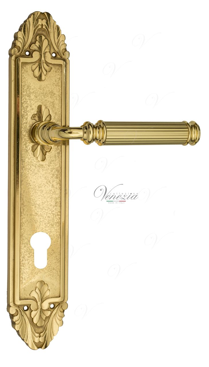 Door Handle Venezia  MOSCA  CYL On Backplate PL90 Polished Brass